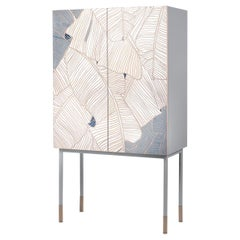 21st Century Basjoo Bar Cabinet in Cedar, White and Blue Erable, Made in Italy