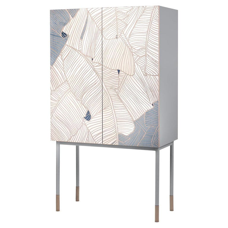 21st Century Basjoo Bar Cabinet in Cedar, White and Blue Erable, Made in Italy For Sale