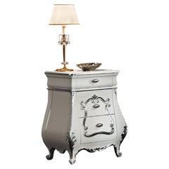 21st Century Bedside Table in White Finishing and Silver Leaf by Modenese