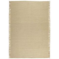 21st Century Beige Flat-Weave Wool Rug