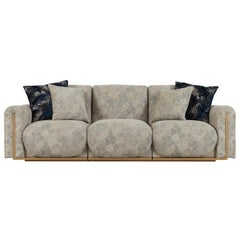 Beijinho 3-Seat Sofa Beige Jacquard-Patterned Velvet Gold Leather
