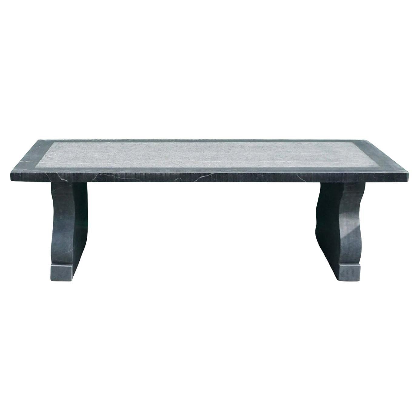 21st Century Belgian Grey Blue Stone Rectangular Dining Table