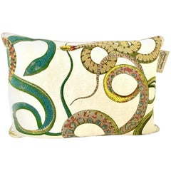 "21st Century Belgium Linen Printed ""Snake"" Down Pillow by, Design Legacy"