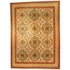 21st Century Bessarabian Design Yellow, Beige and Brick Red Handmade Wool Rug