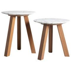 21st Century Bettogli Carrara Marble Teak Wood Three-Leg Coffee Table