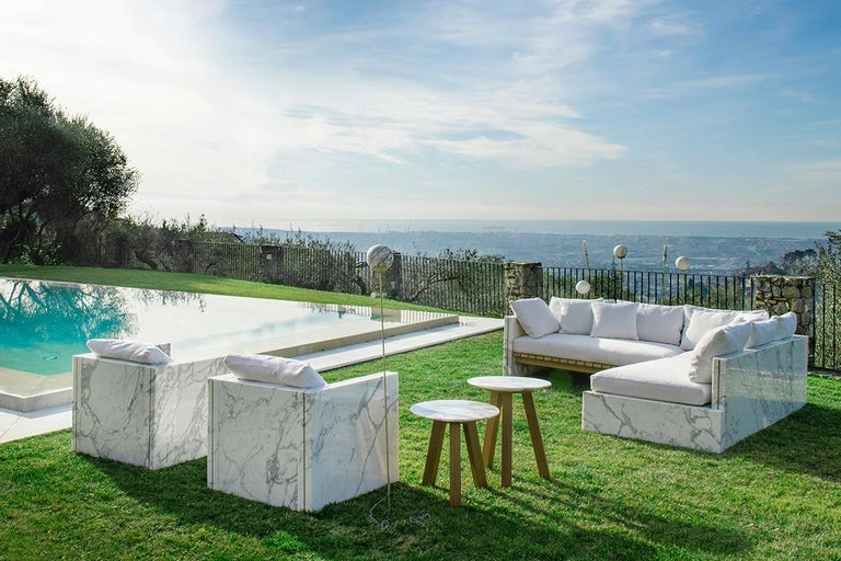 Contemporary 21st Century Bettogli White Statuario Marble Armchair with Armrests and Cushion For Sale
