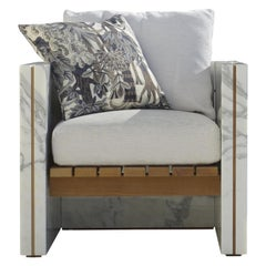 21st Century Bettogli White Statuario Marble Armchair with Armrests and Cushion
