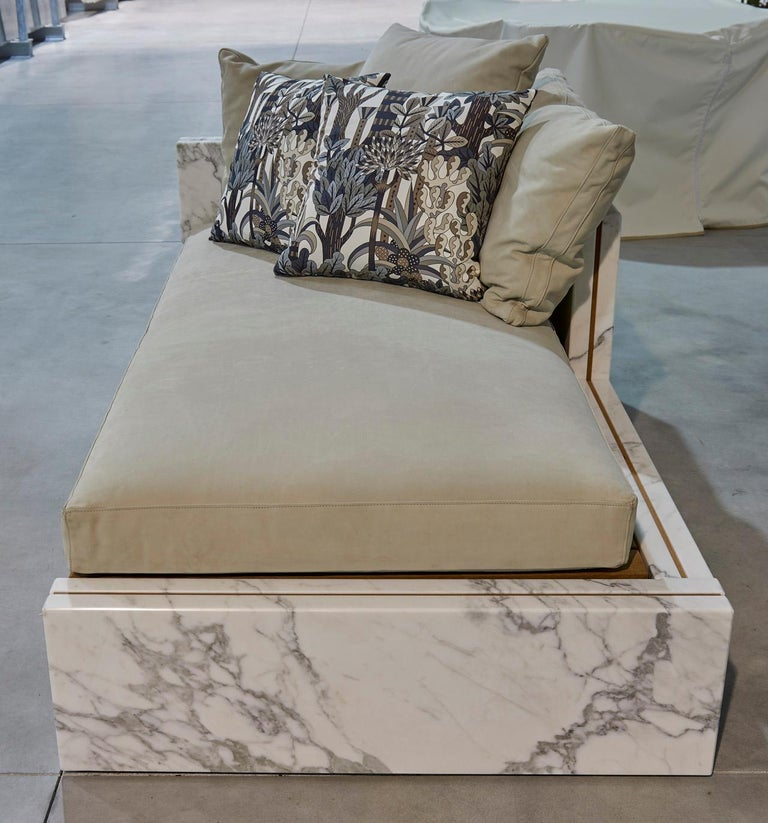 Polished 21st Century Bettogli White Statuario Marble Chaise Lounge Customized Cushions For Sale