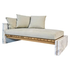 21st Century Bettogli White Statuario Marble Chaise Lounge Customized Cushions