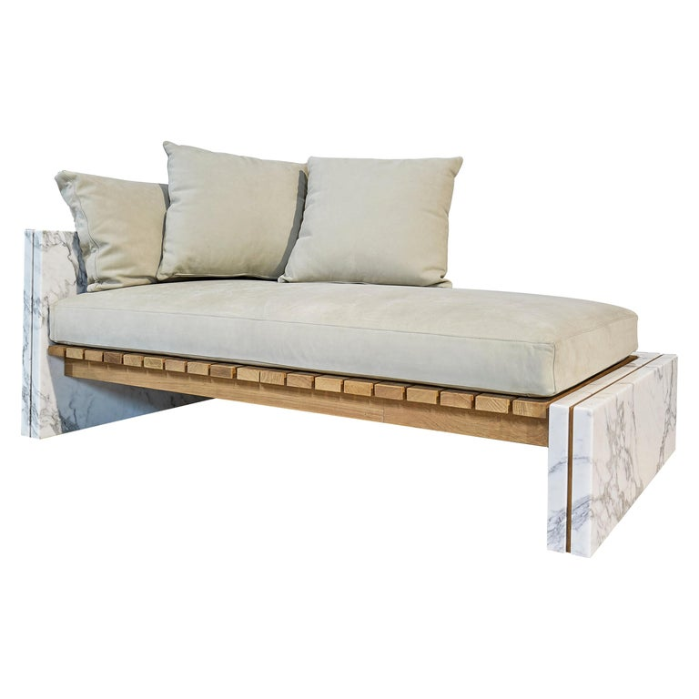 21st Century Bettogli White Statuario Marble Chaise Lounge Customized Cushions For Sale