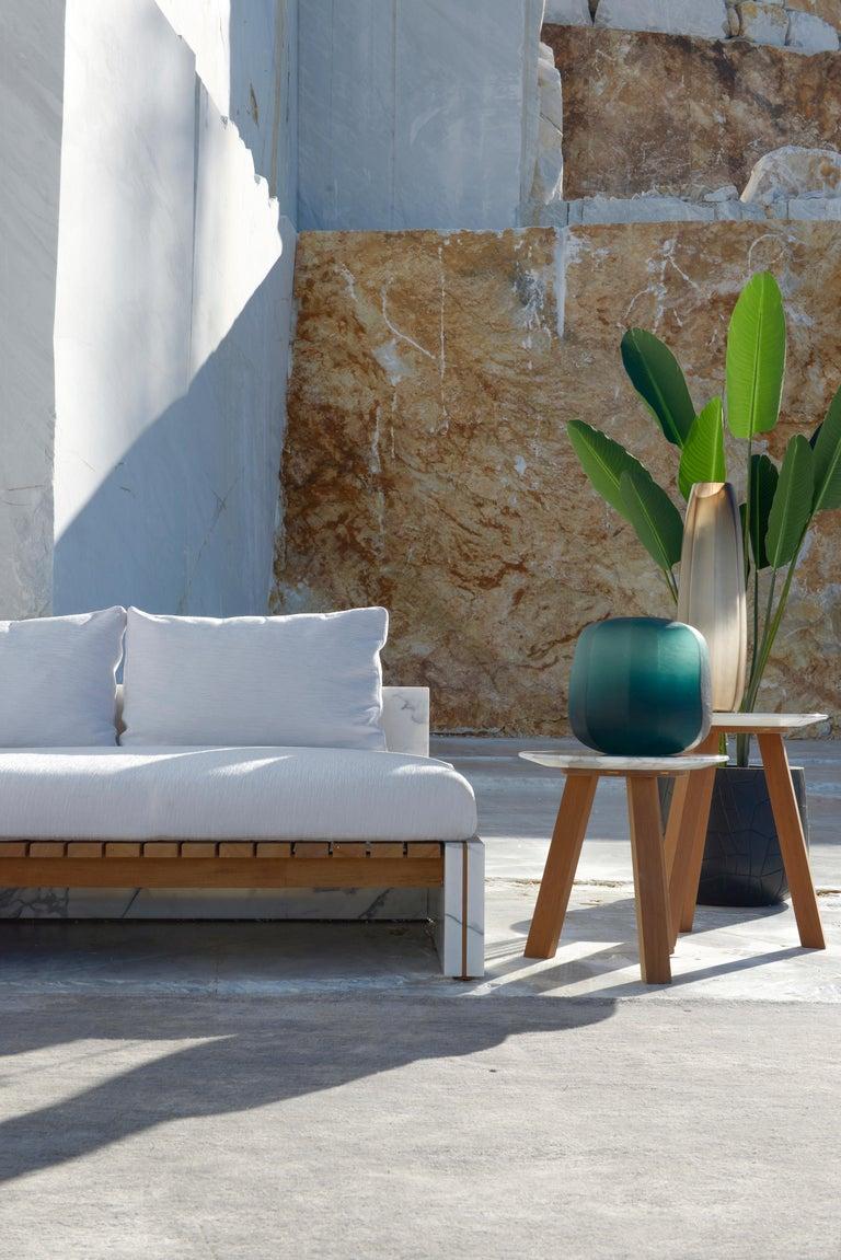 Italian 21st Century Bettogli White Statuario Marble Corner Sofa Customized Cushions For Sale