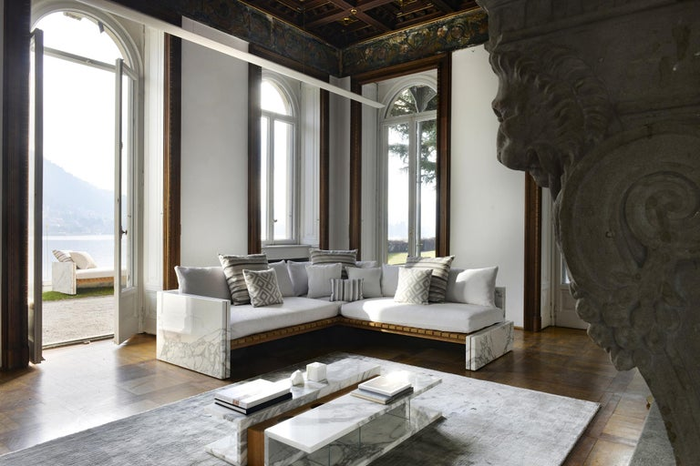 Contemporary 21st Century Bettogli White Statuario Marble Corner Sofa Customized Cushions For Sale