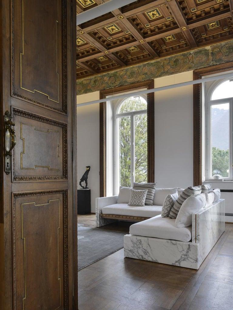 Carrara Marble 21st Century Bettogli White Statuario Marble Corner Sofa Customized Cushions For Sale