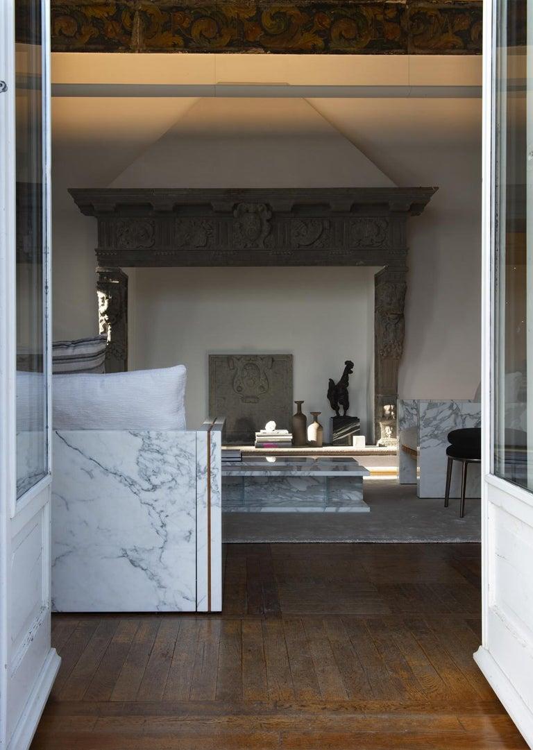 21st Century Bettogli White Statuario Marble Corner Sofa Customized Cushions For Sale 2