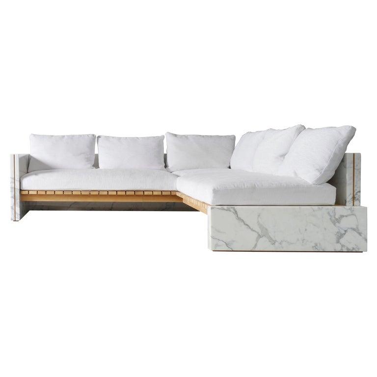 21st Century Bettogli White Statuario Marble Corner Sofa Customized Cushions For Sale