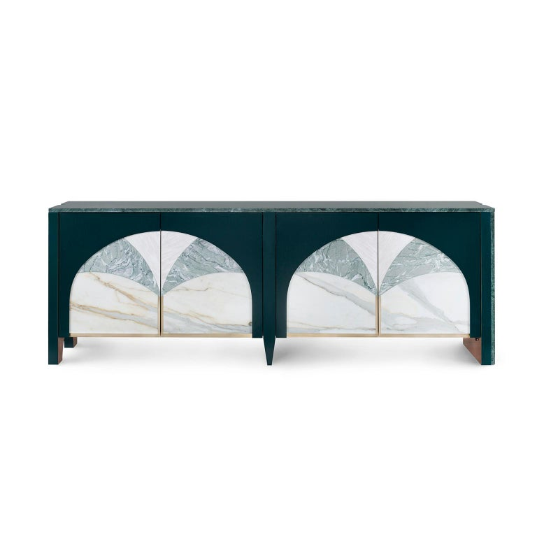 Wooden sideboard lacquered in satin dark green. Top and lateral panel in polished Green Guatemala marble. Doors in three marble inlaid composition: Rosa Egeo, Verde Antigua and Calacatta Cremo. Interior in eucalyptus frisé veneer, high-gloss finish,