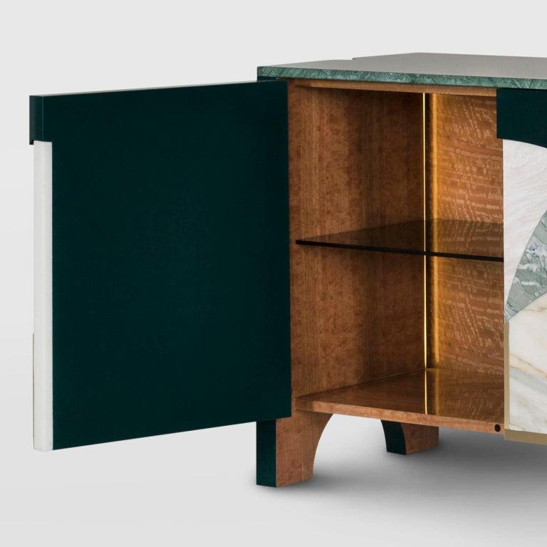 21st Century Biloba Sideboard Green Guatemala Verde Antigua Rosa Egeo Calacatta For Sale 7