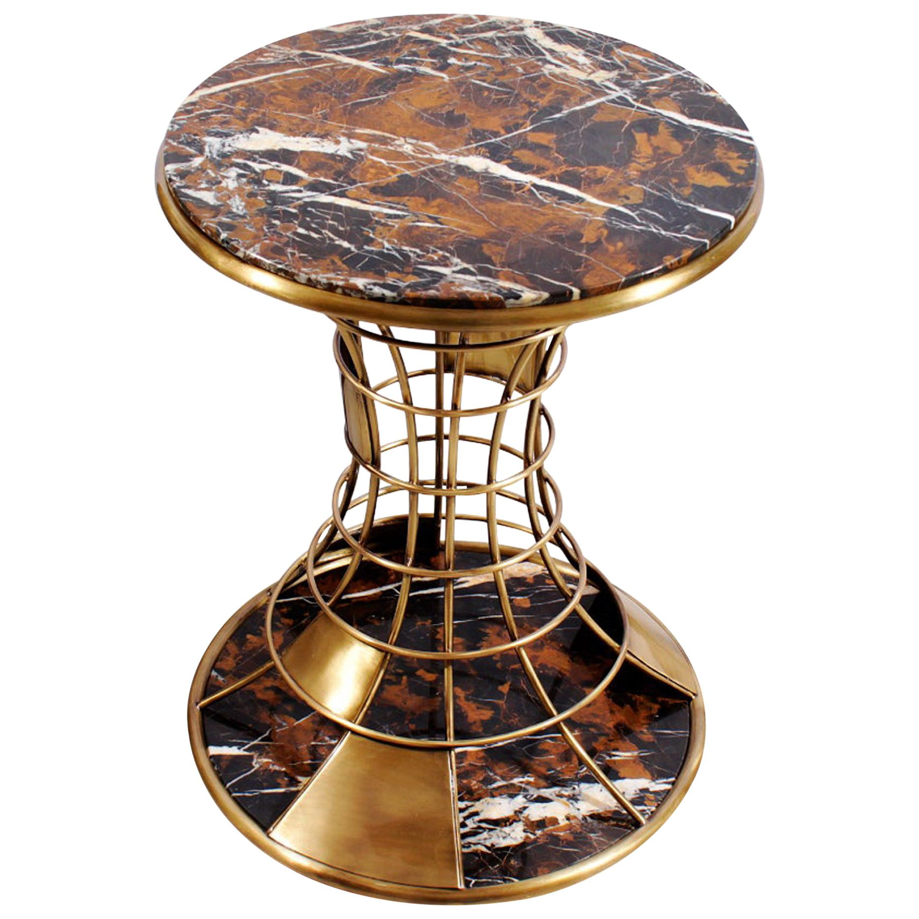 21st Century Bird House Side Table Marble and Brushed Brass