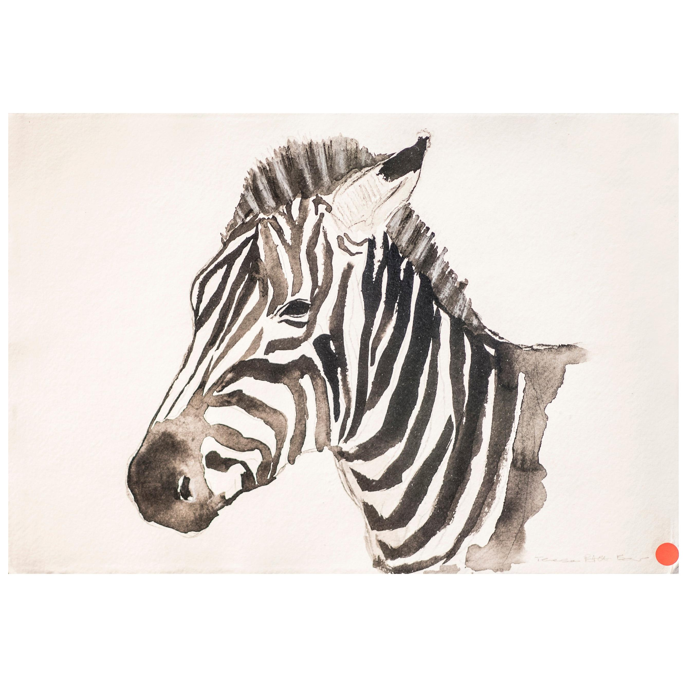 21st Century Black and White Watercolor Zebra Portrait, Chinese Author, Signed