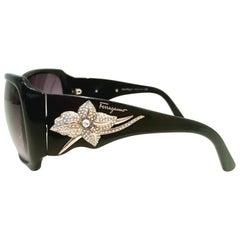 "21st Century Black & Swarovski Crystal ""Bling"" Sunnglasses By, Ferragamo"