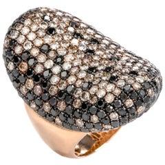 21st Century Black and White Diamond 18 Karat Gold Cluster Cocktail Long Ring