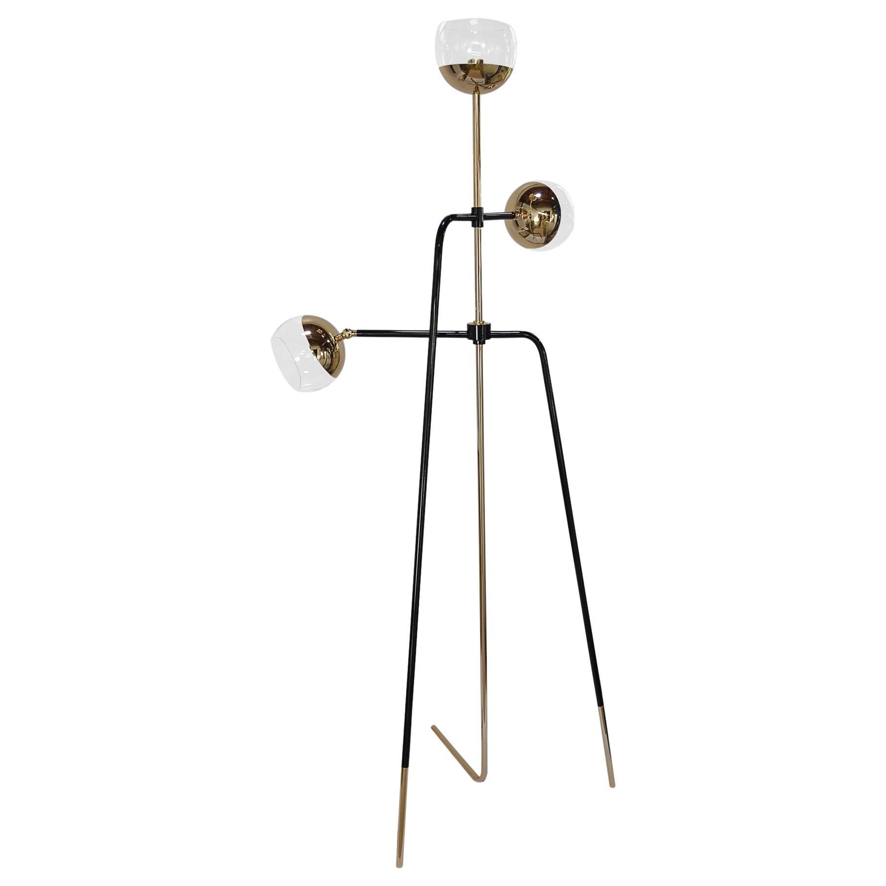 21st Century Black Widow Floor Lamp Brass Glass
