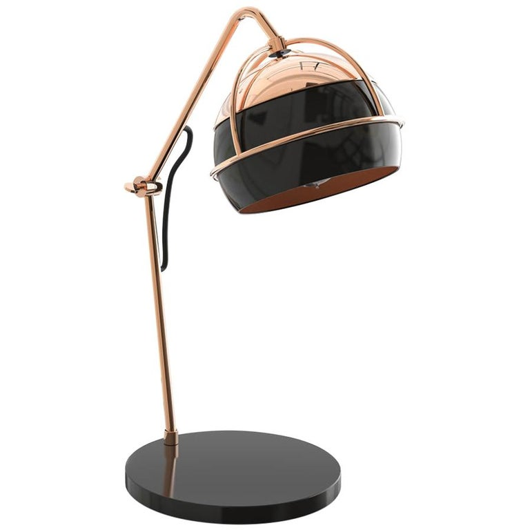 21st Century Black Widow Table Lamp Brass Glass For Sale