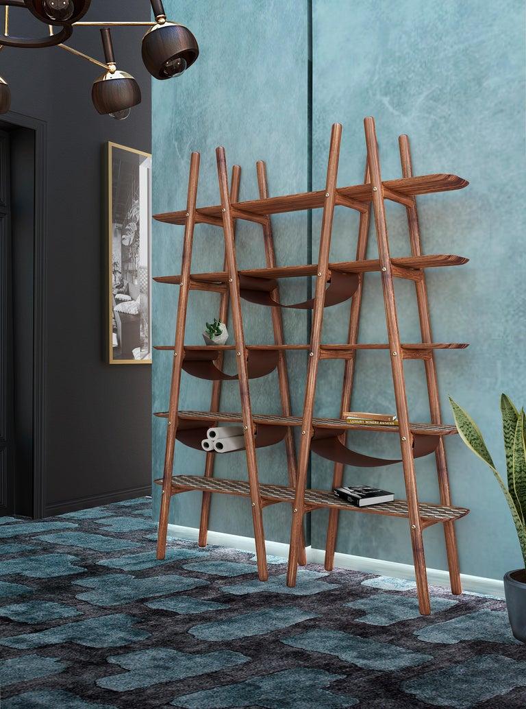Woodwork 21st Century Blake Bookcase Walnutwood For Sale