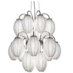 21st Century Bloom Crystal Pearls and Chrome Chandelier by Patrizia Garganti
