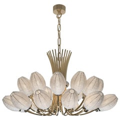 21st Century Bloom Crystal Pearls and Gold Chandelier by Patrizia Garganti