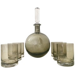 21st Century Blown Glass Decanter and Double Old Fashion Drinks, Set of 7