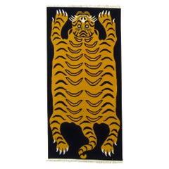 21st Century Blue and Yellow Tiger Tibetan Rug Prayer, 2019