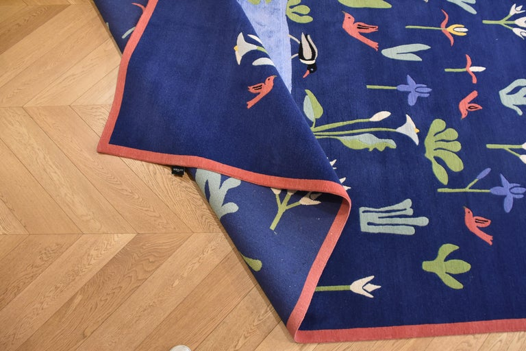 21st Century Blue Green and Red Linde Burkhardt Lake Nepalese Wool and Viscose For Sale 14