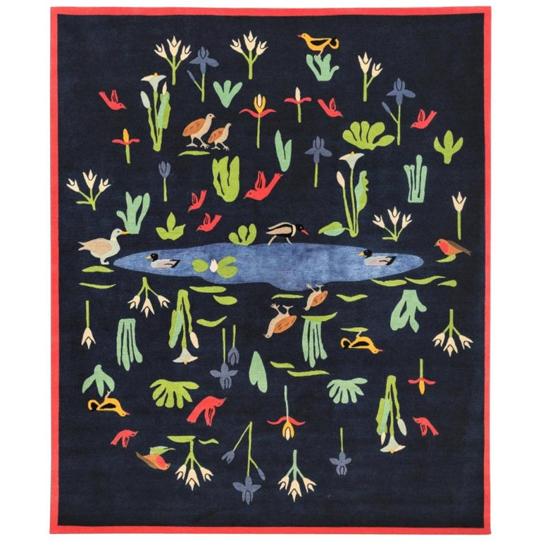 21st Century Blue Green and Red Linde Burkhardt Lake Nepalese Wool and Viscose For Sale