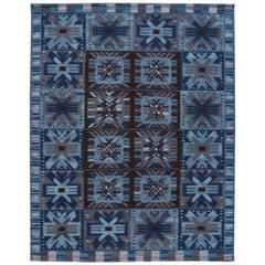 21st Century Blue Modern Swedish Style Wool Rug