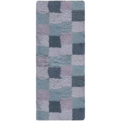 21st Century Bluebell Swedish Rya Wool Rug in Blue and Purple