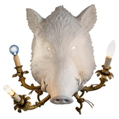 21st Century Boar Lamp Light by Marcantonio, White Painted Fiberglass Resin