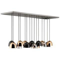 21st Century Bombarda Suspension Lamp Brass Glass Stainless Steel