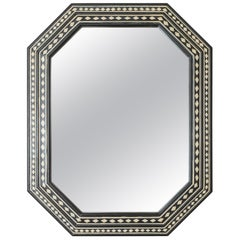 21st Century Bone and Black Lacquered Octagonal Mirror