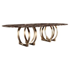 21st Century Boulder Dining Table Marble and Brushed Brass