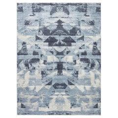 21st Century Braque Abstract Geometric Blue and Gray Handmade Wool Rug