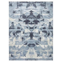 21st Century Braque Abstract Geometric Blue and Gray Handmade Wool Rug