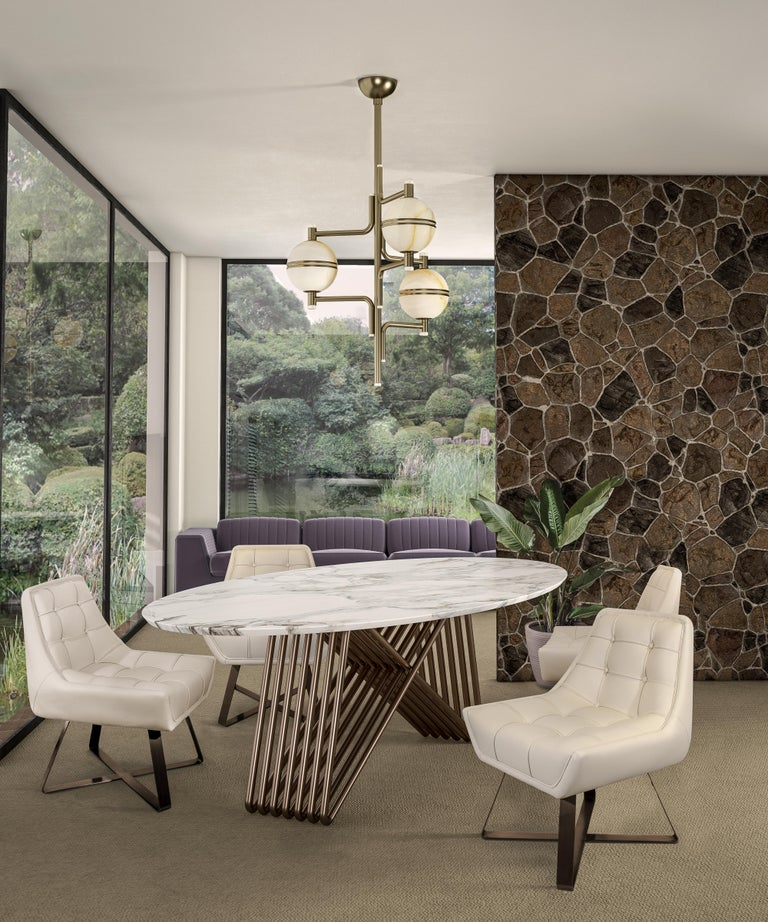 Plated 21st Century Broad Dining Table Marble For Sale