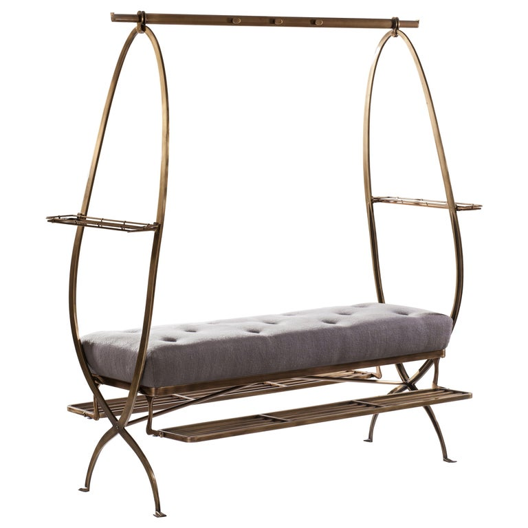 21st Century Bronze-Plated Steel Dressing Bench, the Dumb Valet For Sale