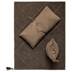 21st Century Brown Black Outdoor Indoor Rug, Bag Cushion, and Double Cushion Set