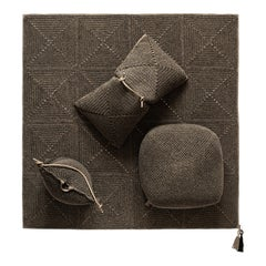 21st Century Brown Black Outdoor Indoor Rug, Two Cushions and Pouf Set