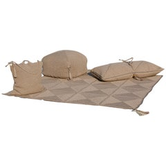 21st Century Brown Outdoor Indoor Rug, Bag Cushion, Double Cushion and Pouf Set