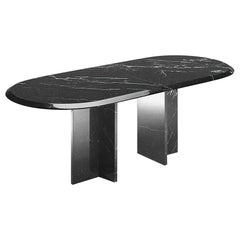 21st Century by A.Castiglioni Oval Living Room Marble Table in White Carrara