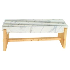"""21st Century by Alessandro Gorla """"APUANA"""" Marble & Wood Upcycling Bench"""