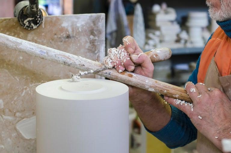 Glazed 21st Century by Alessio Sarri Centrepiece Sculpture Ceramic Black White Gold For Sale